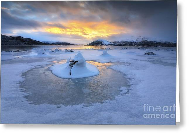 A Frozen Fjord That Is Part Greeting Card by Arild Heitmann