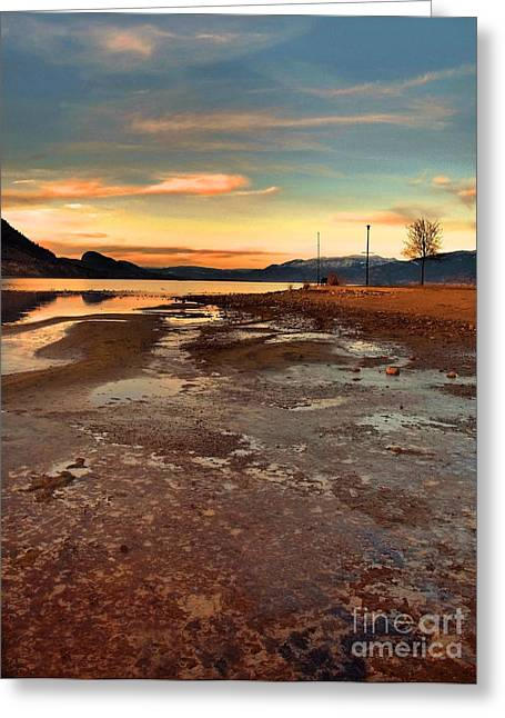 Penticton Greeting Cards - A Frozen Shore Greeting Card by Tara Turner