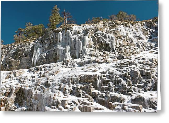 Catalina Mountains Greeting Cards - A Frozen Waterfall Greeting Card by Bob Gibbons