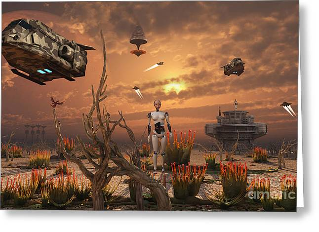 A Futuristic Military Outpost Greeting Card by Mark Stevenson