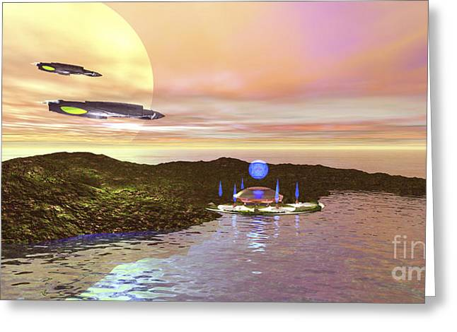 A Futuristic World On Another Planet Greeting Card by Corey Ford