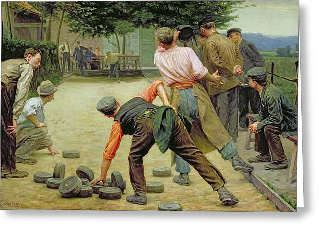 A Game of Bourles in Flanders Greeting Card by Remy Cogghe