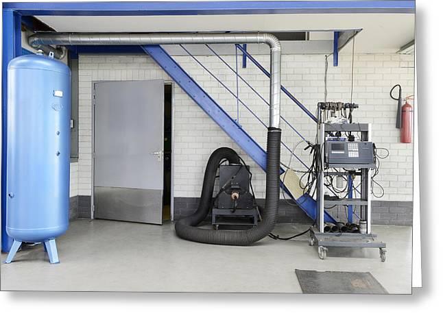 Repair Facility Greeting Cards - A Garage Or Auto Repair Shop. Huge Air Greeting Card by Corepics