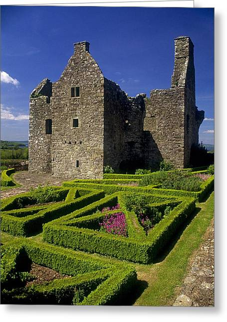 Garden Statuary Greeting Cards - A Garden In Front Of Tully Castle Near Greeting Card by The Irish Image Collection
