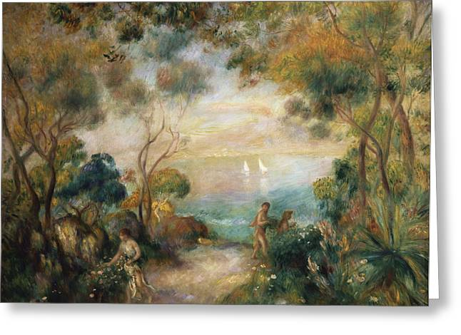 Coastal Trees Greeting Cards - A Garden in Sorrento Greeting Card by Pierre Auguste Renoir