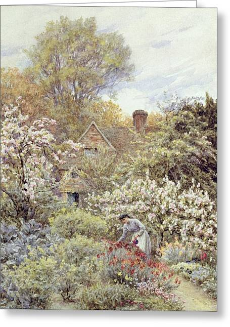 Country Cottage Greeting Cards - A Garden in Spring Greeting Card by Helen Allingham