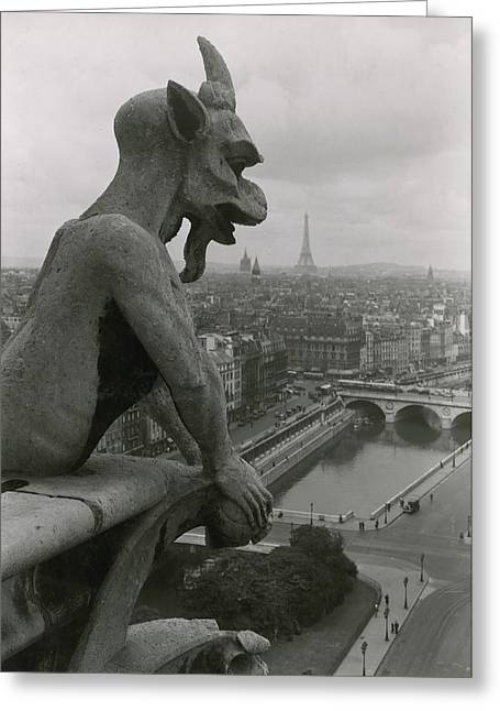 Image Collection Book Greeting Cards - A Gargoyle Looking Over The City Greeting Card by Maynard Owen Williams