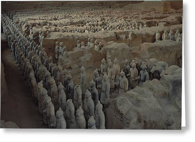 Qin Greeting Cards - A Garrison Of Some 1,400 Terracotta Greeting Card by O. Louis Mazzatenta