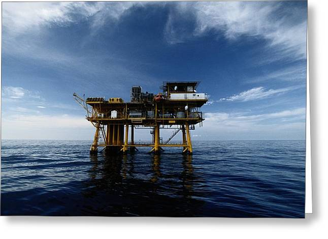 A Gas Platform In The Gulf Of Mexico Greeting Card by Wolcott Henry