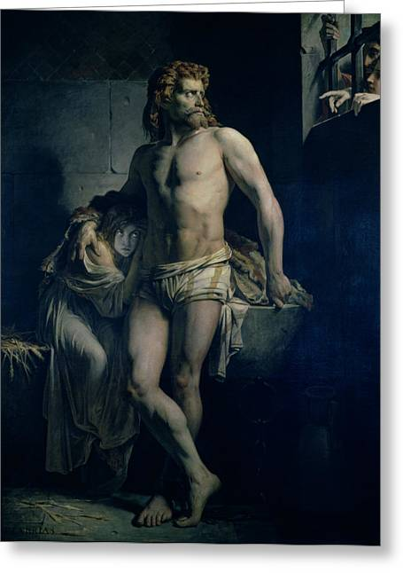 Prisoner Paintings Greeting Cards - A Gaul and his Daughter Imprisoned in Rome Greeting Card by Felix-Joseph Barrias