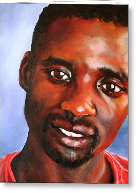 Zimbabwe Paintings Greeting Cards - A Gentle Man Greeting Card by Jolante Hesse