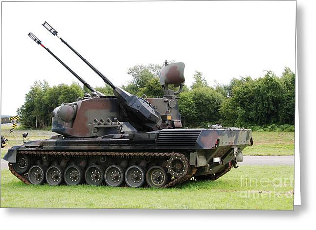 Anti-aircraft Greeting Cards - A Gepard Anti-aircraft Tank Greeting Card by Luc De Jaeger