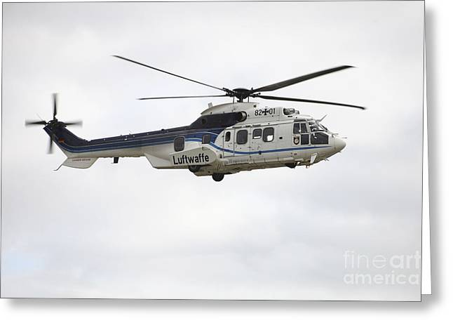 Utility Aircraft Greeting Cards - A German Air Force Eurocopter Cougar Greeting Card by Timm Ziegenthaler