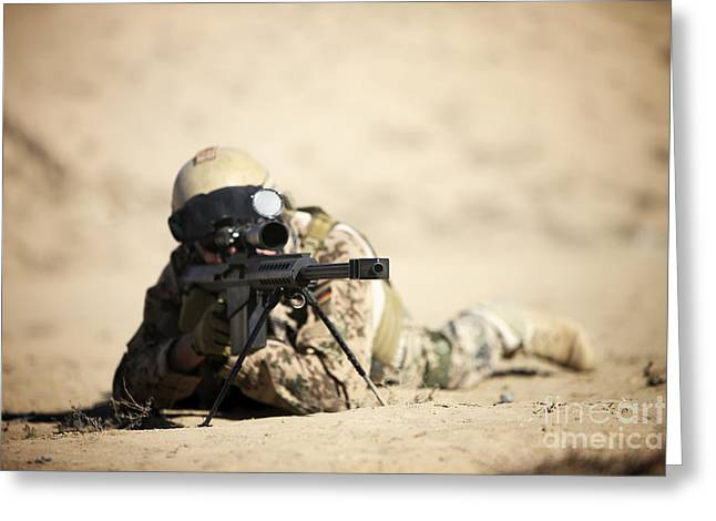 Bipod Greeting Cards - A German Soldier Sights In A Barrett Greeting Card by Terry Moore