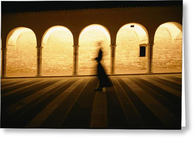 Interior Scene Greeting Cards - A Ghostly Silhouette Of A Monk Greeting Card by Tino Soriano