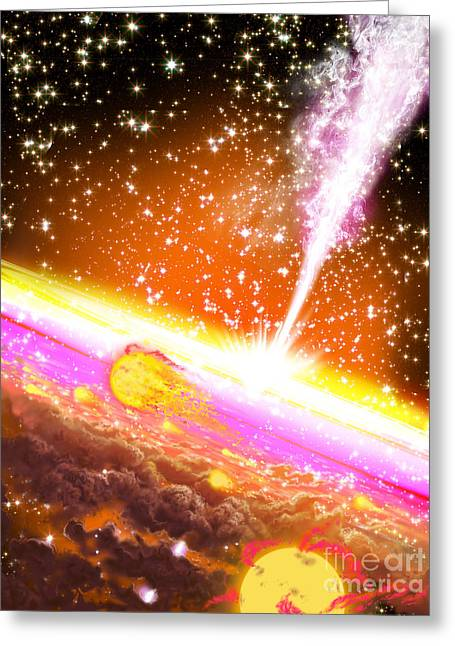 Jet Star Greeting Cards - A Giant Black Hole At The Center Greeting Card by Ron Miller