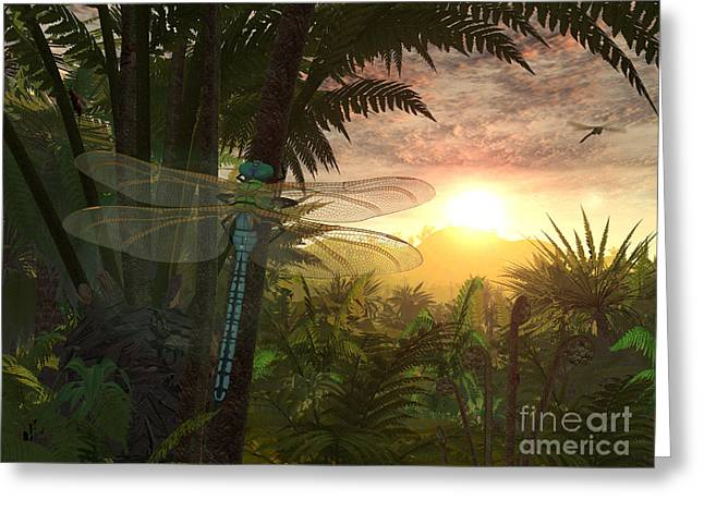 Primeval Greeting Cards - A Giant Meganeura With A 30-inch Greeting Card by Walter Myers