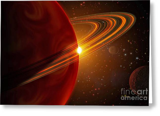 Ring Systems Greeting Cards - A Giant Planet Orbiting The Sun-like Greeting Card by Stocktrek Images
