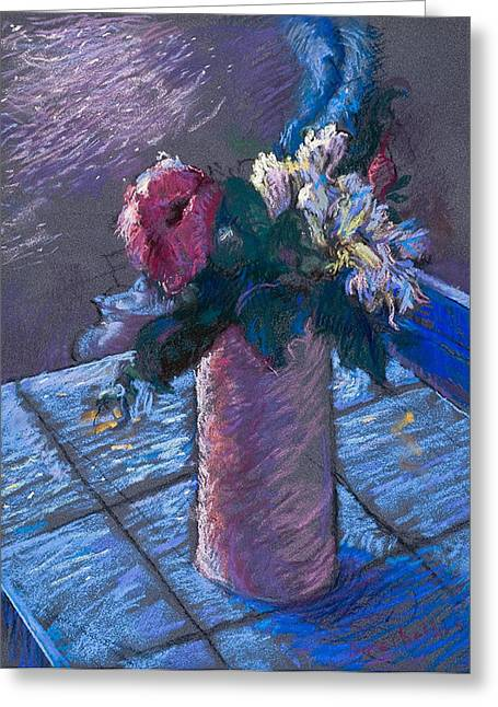 Floral Still Life Pastels Greeting Cards - A Gift of Peonies Greeting Card by Ellen Dreibelbis