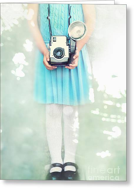 Patent Leather Greeting Cards - A Girl and Her Camera Greeting Card by Stephanie Frey