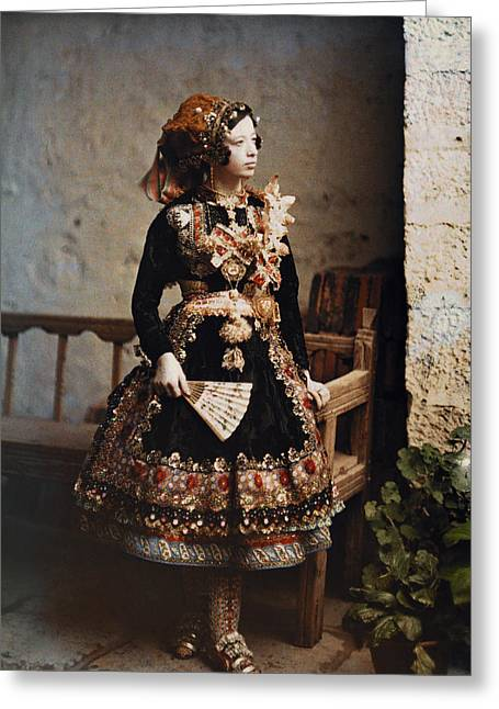 Full-length Portrait Greeting Cards - A Girl Poses In Her Traditional Costume Greeting Card by Gervais Courtellemont