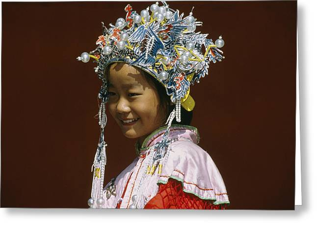 Informal Portraits Greeting Cards - A Girl Wears A Princess Costume Greeting Card by David Edwards