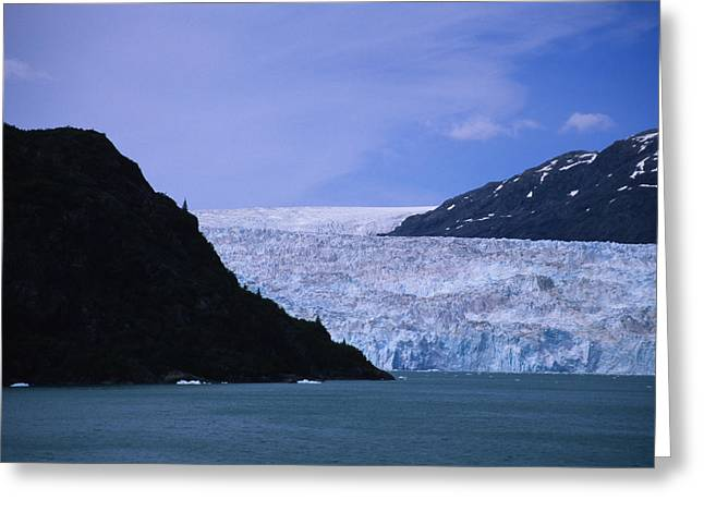 Prince William Greeting Cards - A Glacier Spills Into The Prince Greeting Card by Stacy Gold