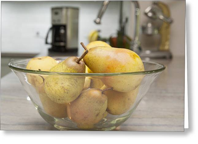Fresh Produce Greeting Cards - A Glass Fruit Bowl Full Of Pears Greeting Card by Marlene Ford