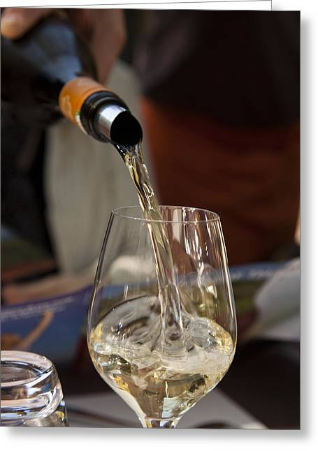 Wine Pouring Greeting Cards - A Glass Of White Wine Being Poured Greeting Card by Taylor S. Kennedy