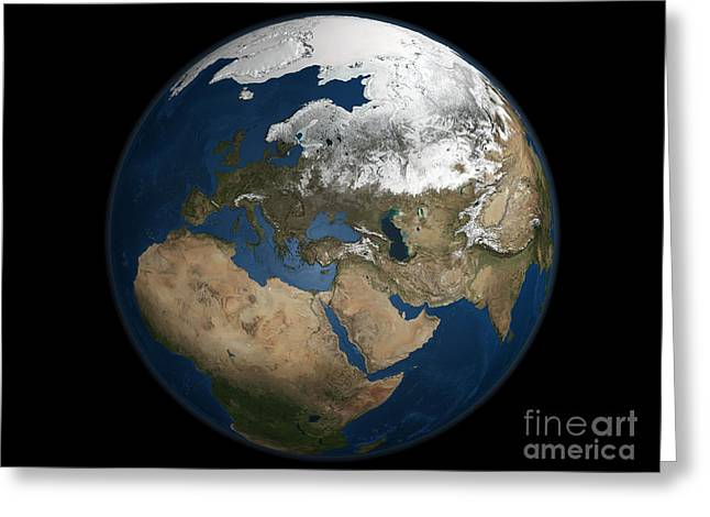 Terrestrial Sphere Greeting Cards - A Global View Over Europe Greeting Card by Stocktrek Images