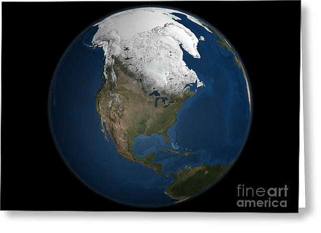 Terrestrial Sphere Greeting Cards - A Global View Over North America Greeting Card by Stocktrek Images