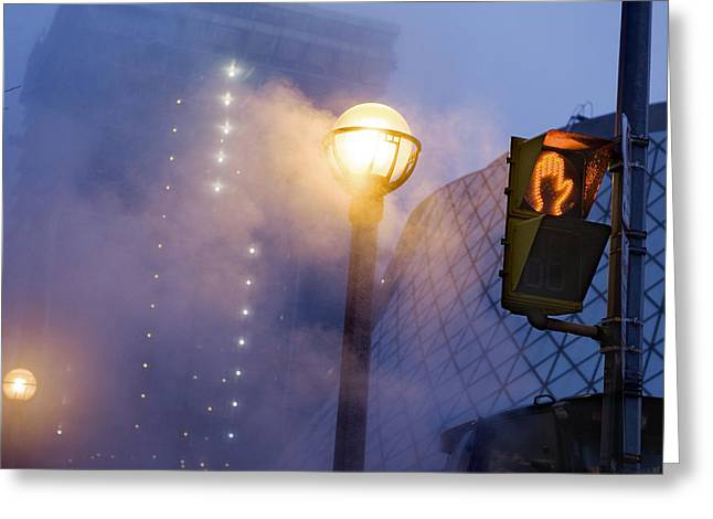 Streetlight Greeting Cards - A Globe-shaped Fixture In Torontos Greeting Card by Jim Richardson