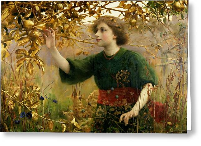 Harvesting Greeting Cards - A Golden Dream Greeting Card by Thomas Cooper Gotch