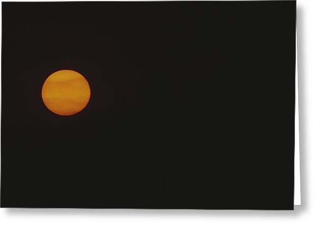 Light And Dark Greeting Cards - A Golden Harvest Moon Rises Over La Greeting Card by Raul Touzon