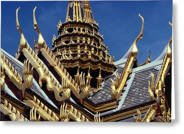 Indochinese Architecture And Art Greeting Cards - A Golden Serpent Roof Surmounting One Greeting Card by Todd Gipstein