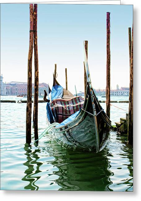 Green Blanket Greeting Cards - A Gondola in Venice Greeting Card by Michelle Sheppard