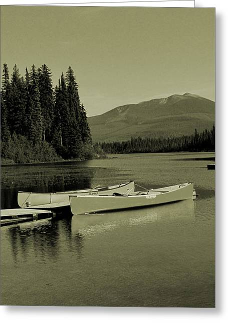 Canoe Greeting Cards - A good old fashioned holiday Greeting Card by Andrea Arnold