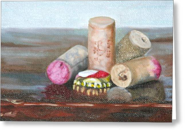 Bottle Cap Paintings Greeting Cards - A Good Year on a Good Night Greeting Card by Amy Higgins