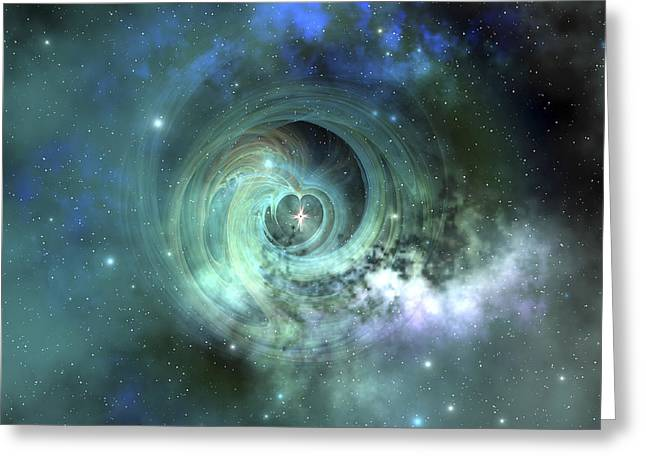 Color Green Greeting Cards - A Gorgeous Nebula In Outer Space Greeting Card by Corey Ford