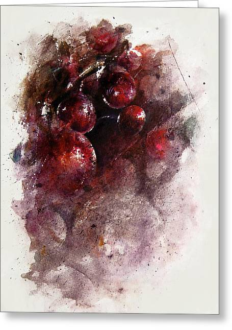 Passion Fruit Paintings Greeting Cards - A Grape Mystery Greeting Card by Rachel Christine Nowicki