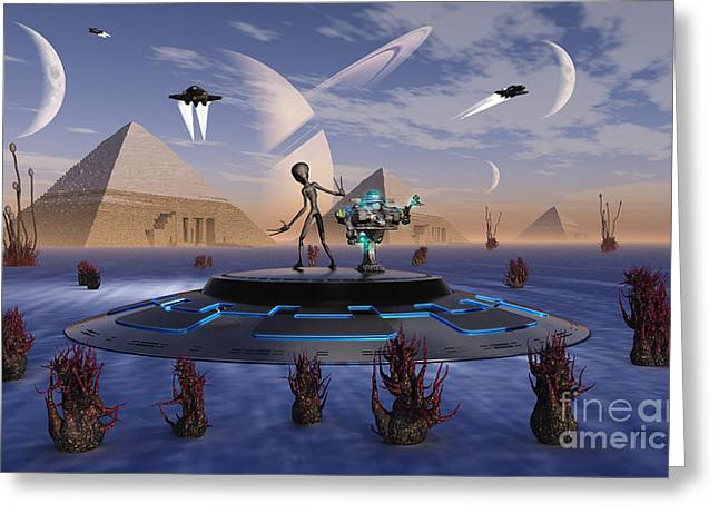 Skinny Greeting Cards - A Grey Alien Visits The Site Of Three Greeting Card by Mark Stevenson
