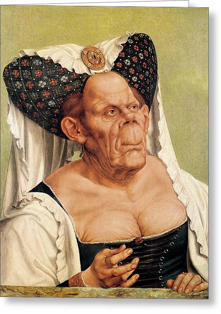 Corset Dress Greeting Cards - A Grotesque Old Woman Greeting Card by Quentin Massys