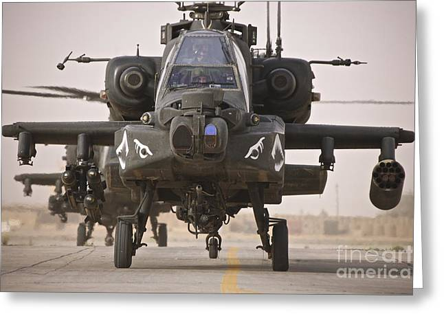 Ah-64 Greeting Cards - A Group Of Ah-64d Apache Helicopters Greeting Card by Terry Moore