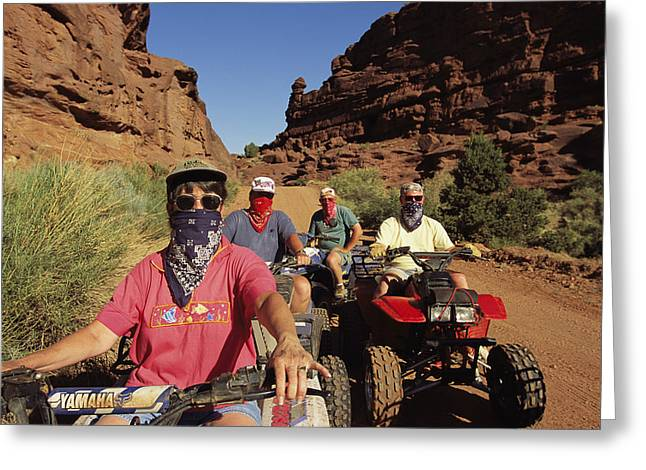 Informal Portraits Greeting Cards - A Group Of Atv-riders Greeting Card by Melissa Farlow