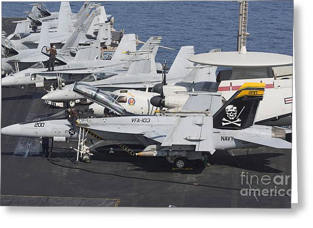 F-18 Greeting Cards - A Group Of Fa-18f Super Hornets Greeting Card by Gert Kromhout