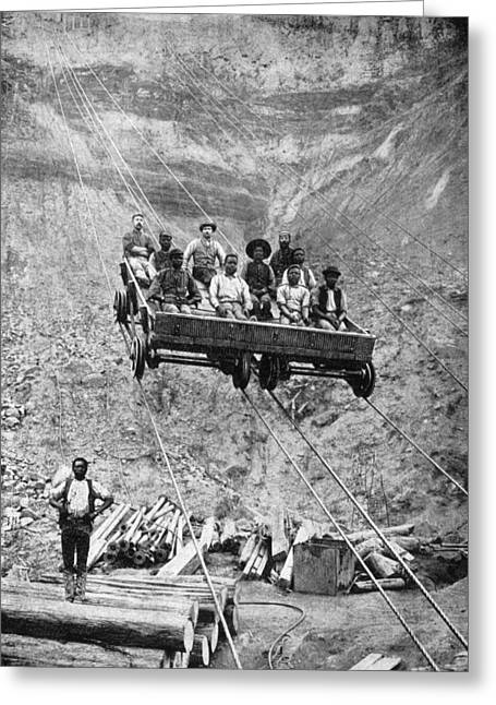 Mixed Age Range Greeting Cards - A Group Of Miners Rides The Cable Car Greeting Card by Gardiner F. Williams