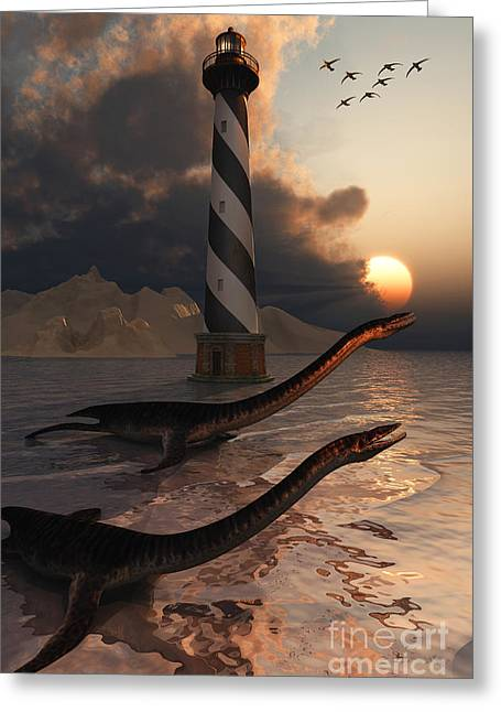 A Group Of Plesiosaurs Resting Greeting Card by Mark Stevenson