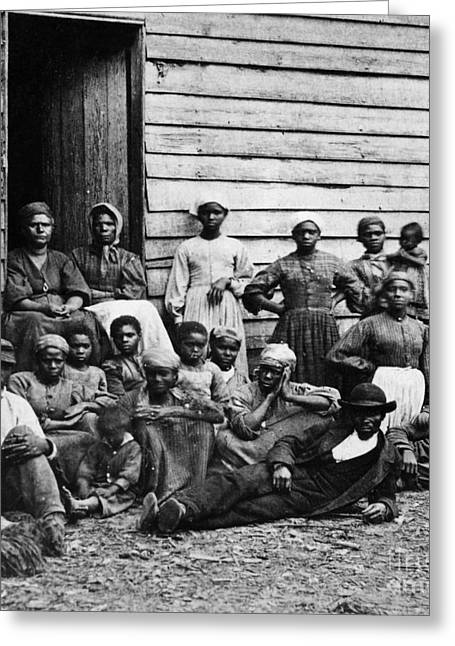 Slavery Greeting Cards - A Group Of Slaves Greeting Card by Photo Researchers
