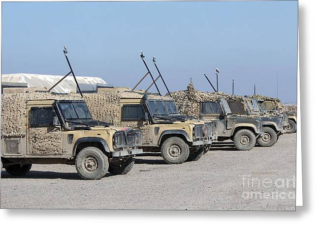Foreign Military Greeting Cards - A Group Of Snatch Land Rover Patrol Greeting Card by Andrew Chittock