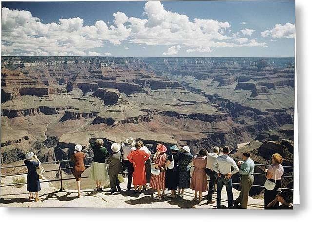 A Group Of Visitors At Hopi Point Greeting Card by Justin Locke